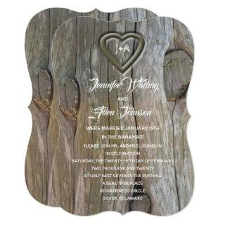 Carved Wood Heart Post Wedding Reception Invitations