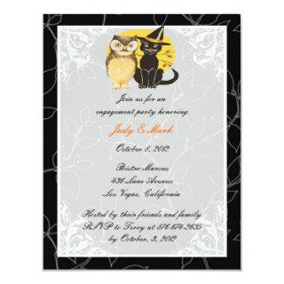 Cat & Owl Halloween Engagement Party Invitations