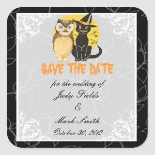 Cat & Owl Halloween Wedding Save The Date Stickers