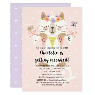 Cat Themed Bridal Shower Invitations Floral Boho
