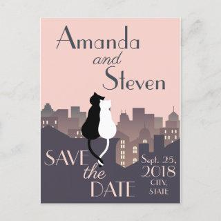 Cat themed wedding design announcement postcard