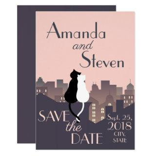 Cat themed wedding design invitation