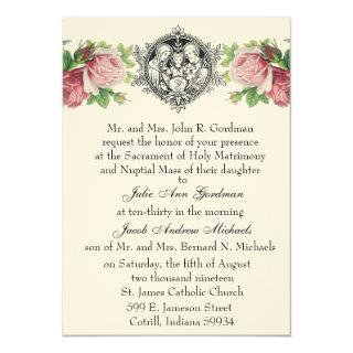 Catholic Holy Family Pink Roses Floral  Wedding Invitations