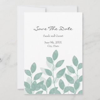 Celadon Green Watercolor Leaves Save The Date