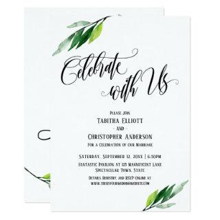 Celebrate with Us Elaborate Script and Greenery Invitations
