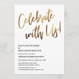Celebrate With Us! Minimal Gold Handwriting Event