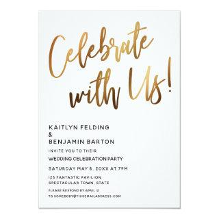 Celebrate With Us! Minimal Gold Handwriting Event Invitations