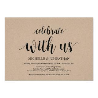 Celebrate with us, Wedding Elopement Invites