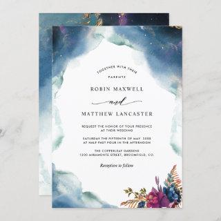 Celestial Blue, Purple and Teal Watercolor Wedding