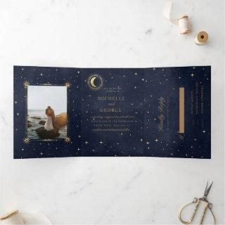 celestial gold moon tri fold wedding invitation