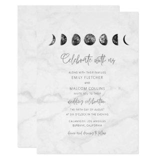 Celestial Gray Marble Moon Phases Wedding Invitations