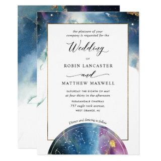 Celestial Map Teal Blue Purple Watercolor Wedding Invitations