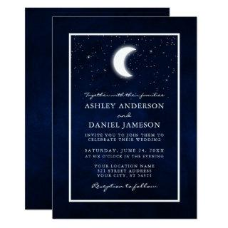 Celestial Moon Stars Framed Wedding Invitation