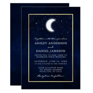 Celestial Moon Stars Gold Wedding Invitation