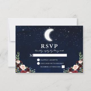 Celestial Wedding Blue Sky Moon Stars Floral RSVP Card