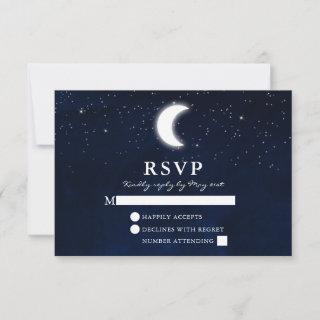 Celestial Wedding Watercolor Blue Sky Moon Stars RSVP Card