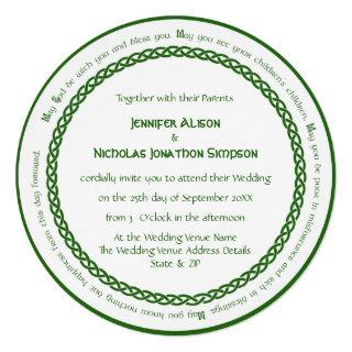 Celtic Knot Circle and Irish Wedding Blessing Invitations
