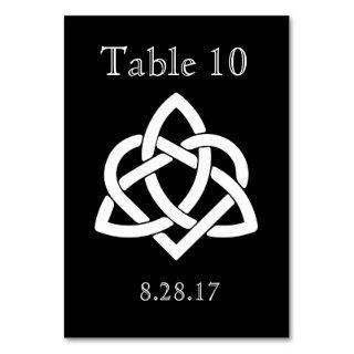 Celtic Knot Initials - Table card - Black