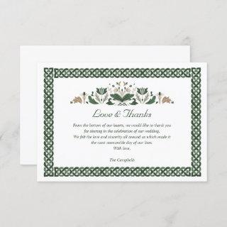 Celtic Knot  Modern Floral Irish Wedding THANK YOU Invitation