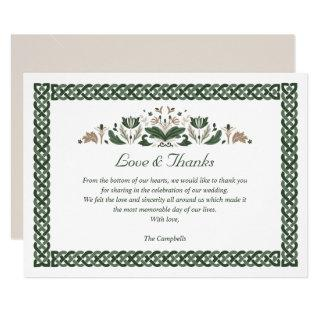 Celtic Knot  Modern Floral Irish Wedding THANK YOU Invitations
