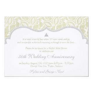 Celtic Love Knot Damask 50th Wedding Anniversary Invitation