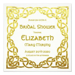 Celtic Wedding Faux Gold Celtic Knot Bridal Shower Invitations