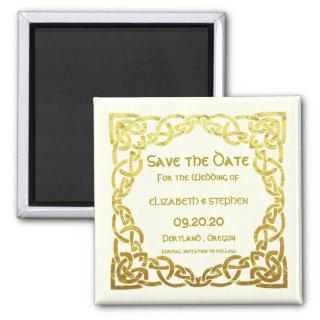 Celtic Wedding Faux Gold Celtic Knot Save the date Magnet