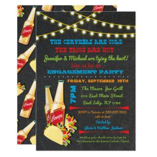 Cervezas and tacos Engagement Party invitations