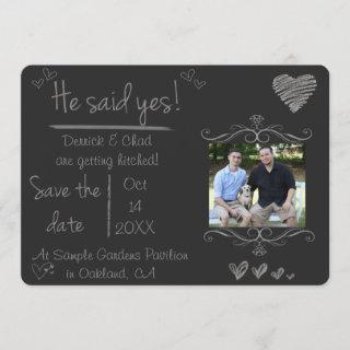 Chalk Board Save the Date, He Said Yes Invitation
