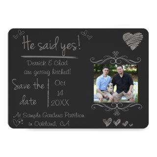 Chalk Board Save the Date, He Said Yes Invitations