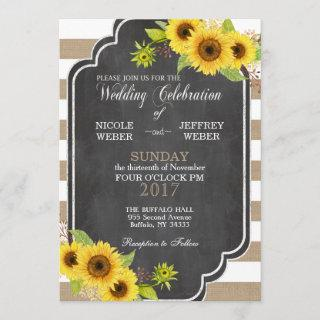 Chalk Burlap Floral Wedding Sunflower Invitation