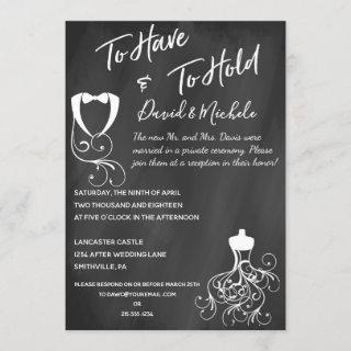 Chalkboard After/Post Wedding Party Invitations