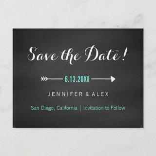 Chalkboard Black Turquoise and Arrow Save the Date Announcement Postcard