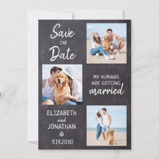 Chalkboard Dog Wedding Photo Collage Save The Date