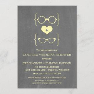 Chalkboard Geeky Glasses Couples Shower Invite