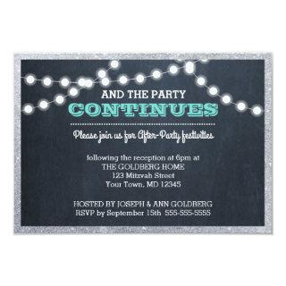 Chalkboard Lights Teal Silver Border After Party Invitations