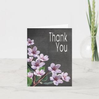 Chalkboard Lilac Watercolor Flowers Thank You