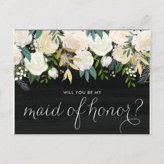 Chalkboard Pale Peonies Be My Maid of Honor Invitations Postcard
