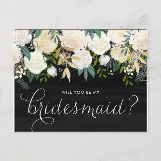 Chalkboard Pale Peonies Will You Be My Bridesmaid Invitations Postcard