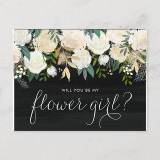 Chalkboard Pale Peonies Will You Be My Flower Girl Invitation Postcard