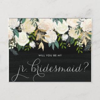 Chalkboard Peonies Will You Be My Jr. Bridesmaid Invitation Postcard