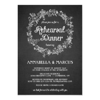 Chalkboard Rehearsal Dinner Floral Invitations