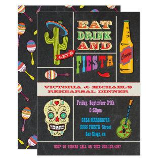 Chalkboard Rehearsal Dinner Mexican Fiesta Invitations