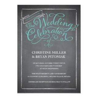Chalkboard Script Blue Wedding Invitations