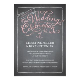 Chalkboard Script Pink Wedding Invitations