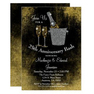 Champagne Anniversary Invitations Black Gold Silver