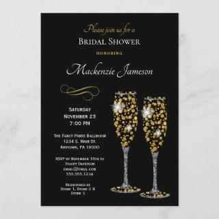 Champagne Black Bridal Shower Invitations