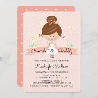 Champagne Brunch Bridal Shower Invitations Brunette