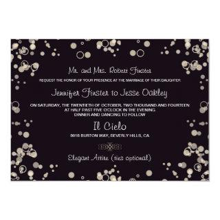 Champagne Bubbles - Black and Ivory Invitations