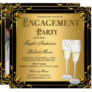 Champagne Faux Gold Black Engagement Party Photo Invitation